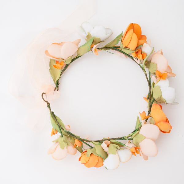 Orange floral head wreath