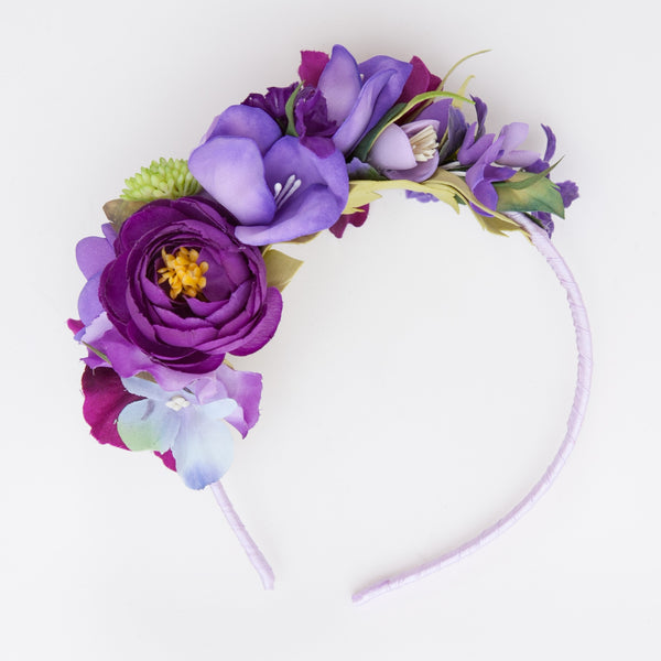 Purple floral hair band