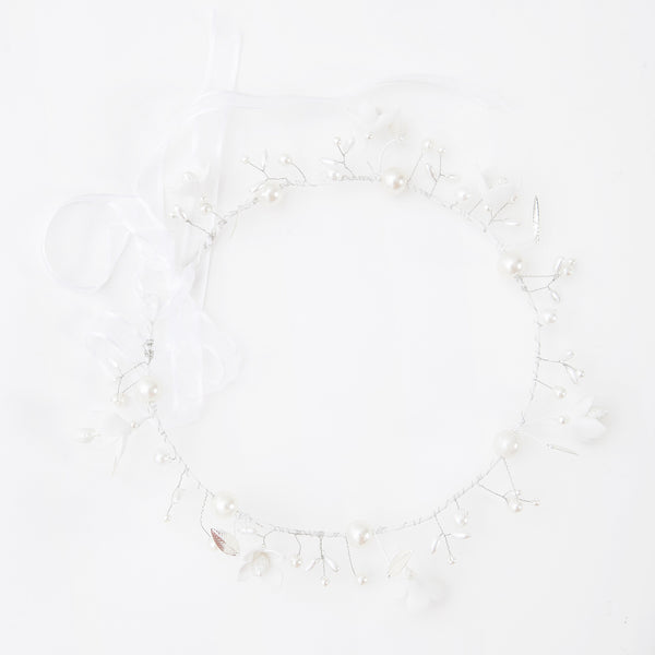Bridal white floral wreath with pearls