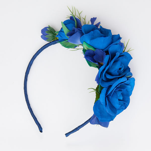 blue floral hair band