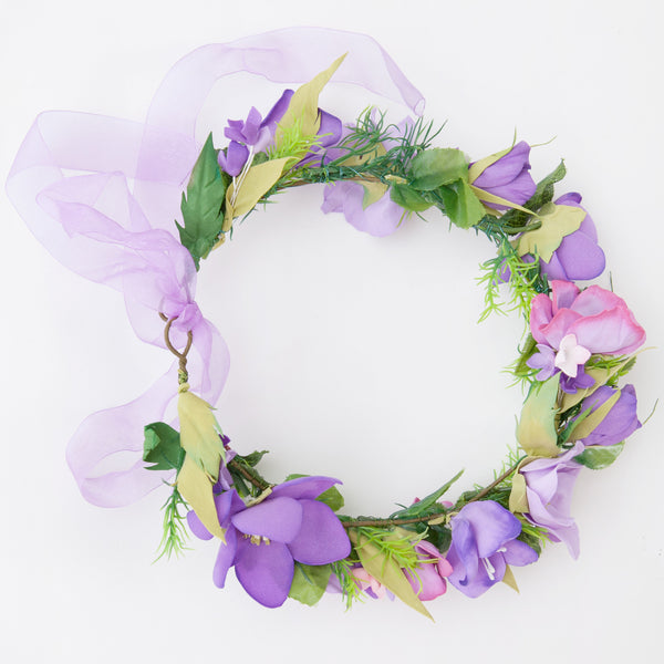 Purple and pink floral head wreath