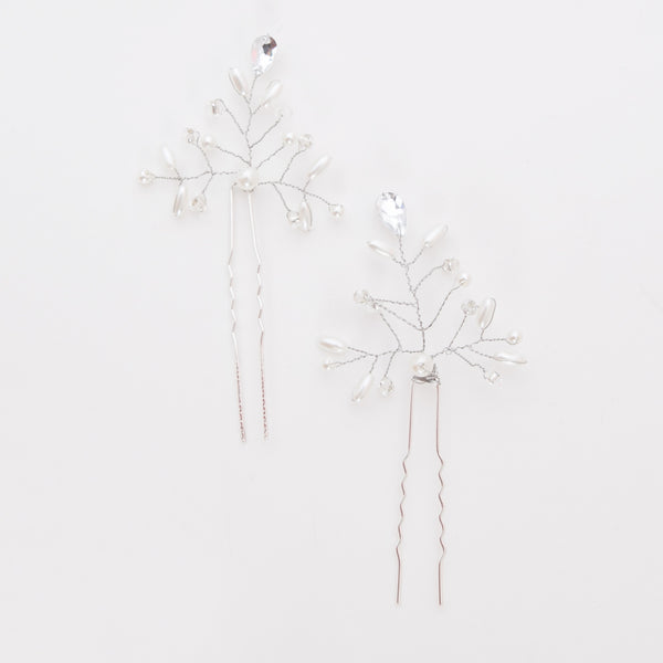Crystal and rhinestone hairpins