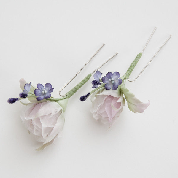 Hairpin with rose and lilac