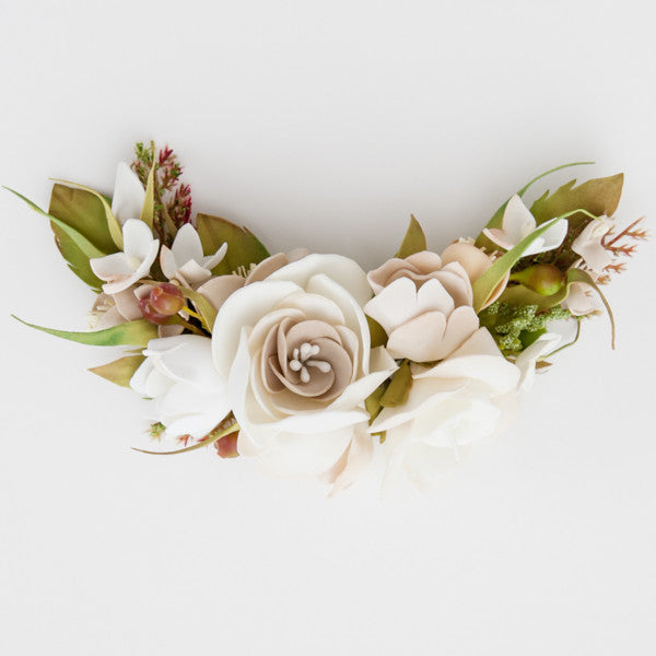 Bridal floral hair piece off-white
