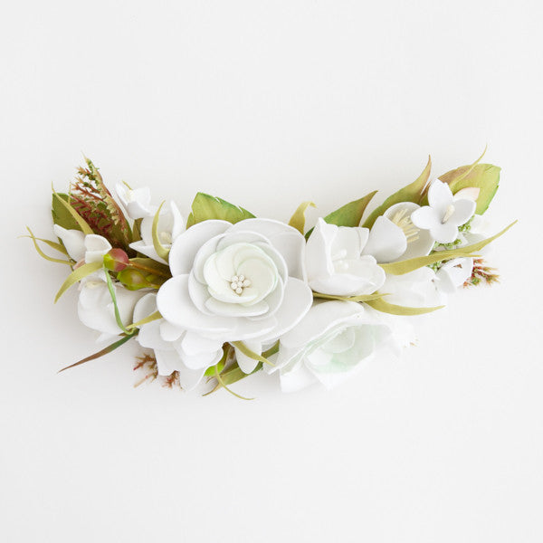 Bridal floral hair piece in white