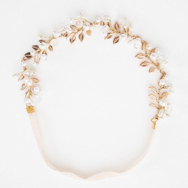 Golden hair band for girls with beige band
