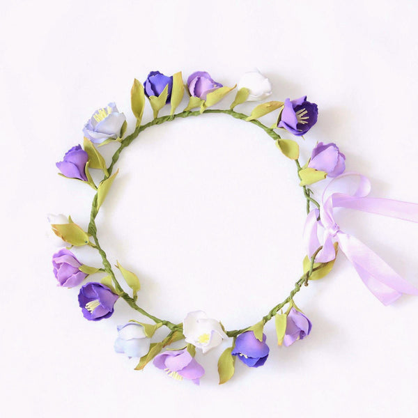 Lilac and purple flowers head wreath