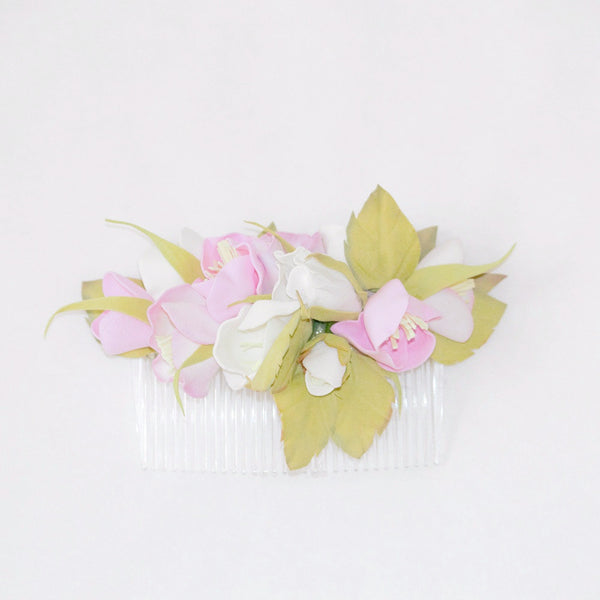 White and pink floral hair comb