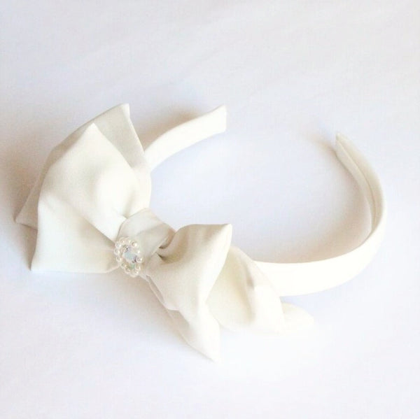 White bow hairband for girls