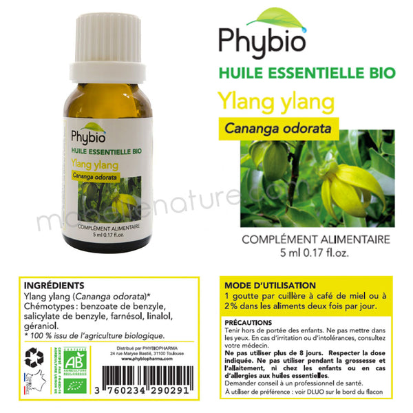 Ylang Ylang Bio (5ml) - Huile essentielle Phybio - Ma Belle Nature