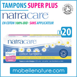 "Tampons ""Super Plus"" en coton 100% bio sans applicateur (20) - Natracare - Ma Belle Nature"