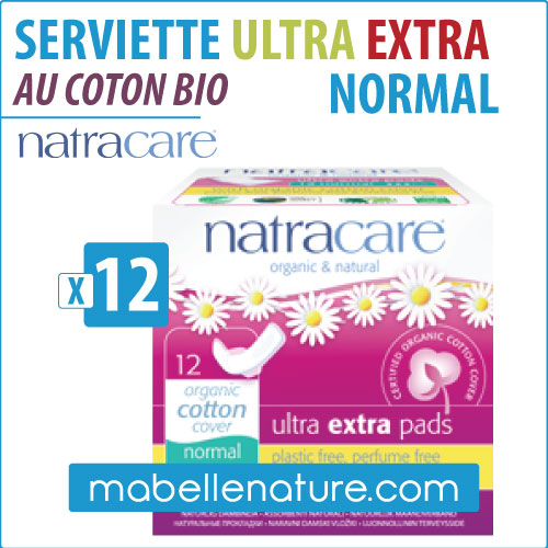 Serviettes ULTRA EXTRA NORMAL en coton bio Natracare