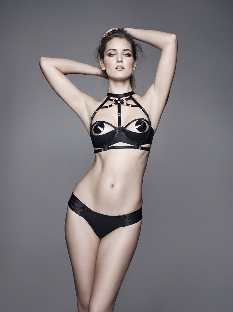 Bordelle Bondage Shelf Bra - BLACK