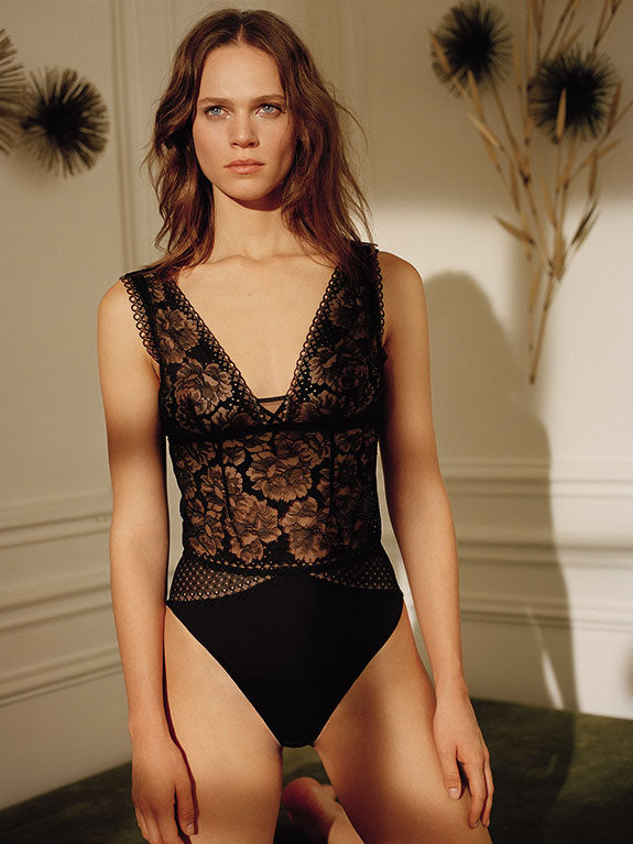 Maison Lejaby Dot Flowers Bodysuit - BLACK