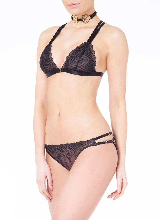 Bordelle Kizette Ouvert Adjustable Brief - BLACK