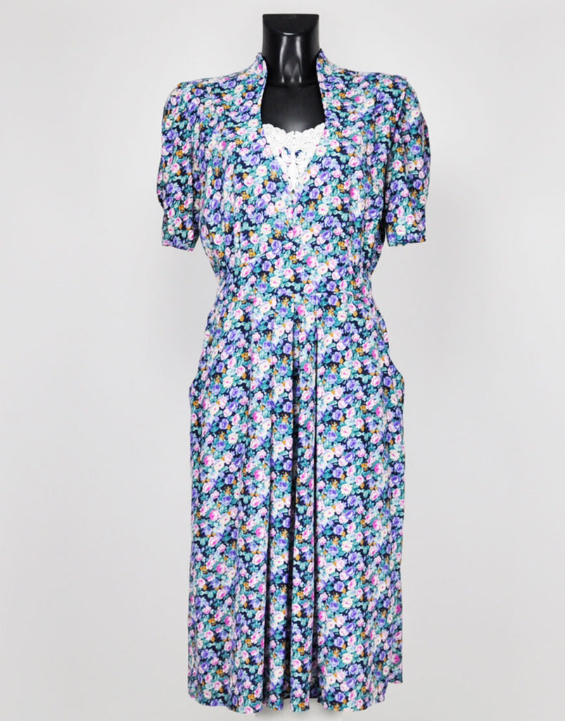80s Floral Midi Day Dress