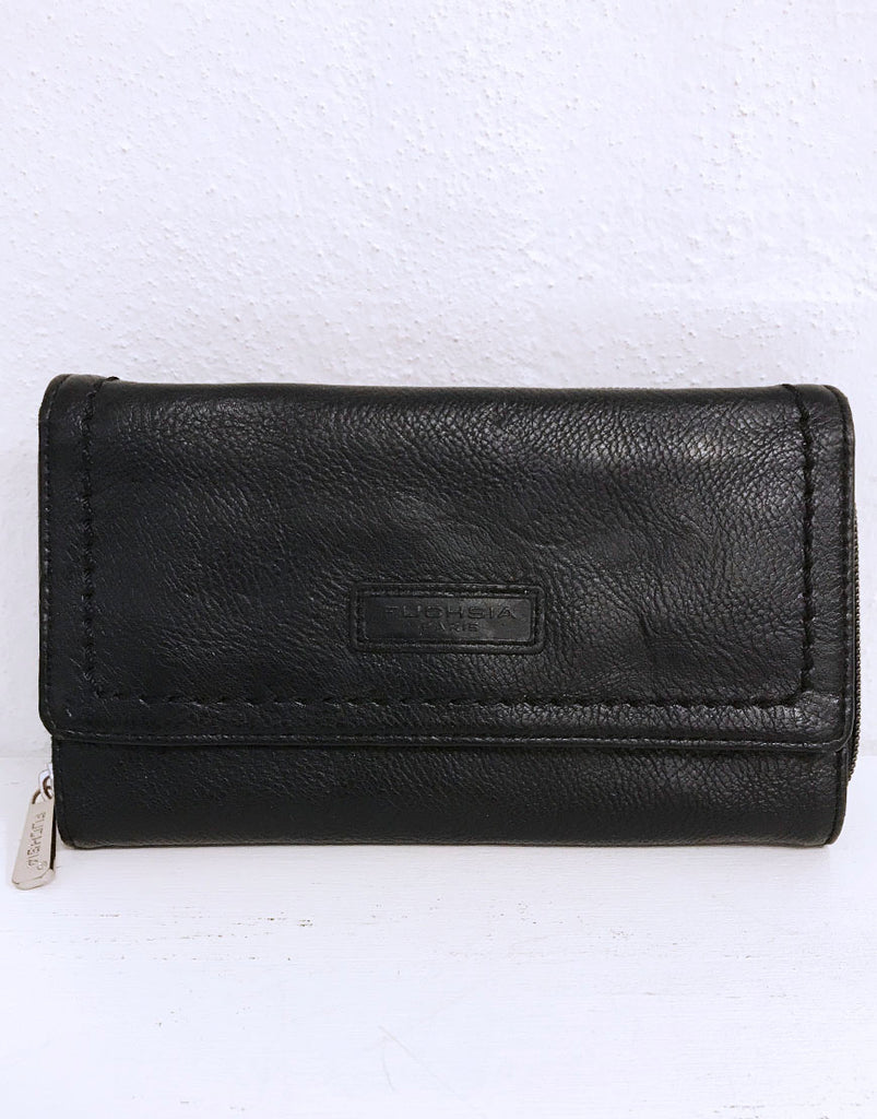 Black leather clutch purse with multiple compartments