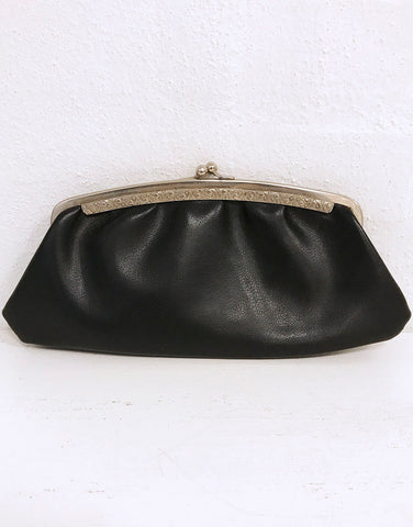 Faux Black Leather Clutch