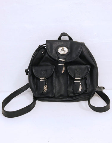 90s black faux leather bagpack