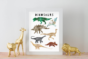 Watercolour Dinosaur Print