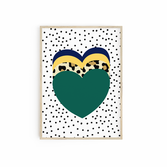 Green - Leopard - Yellow - Blue heart