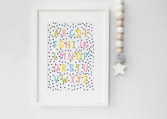 Pink Orange Yellow Green & Blue Alphabet print
