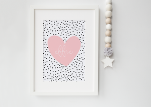 Dalmatian Blush Heart Personalised print