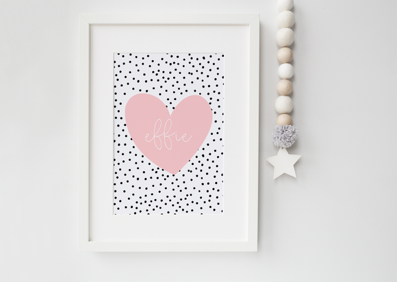 Dalmatian Pink Blush Heart Personalised print