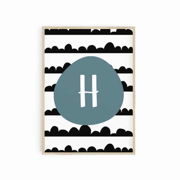 Blue Scandi Scallop Monogram
