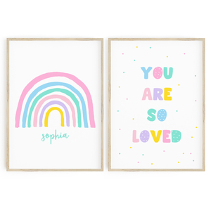 Bright Pastel Personalised Rainbow + You are so Loved