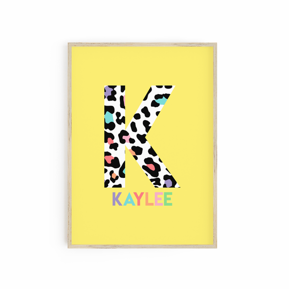 Personalised Bright Yellow Leopard Rainbow Print Monogram