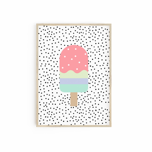 Popsicle Lolly on Spotty Background