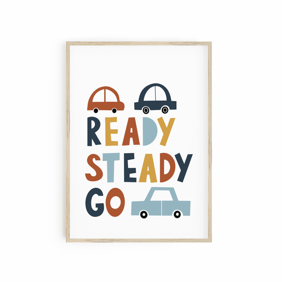 Ready Steady Go - Neutral Car Print