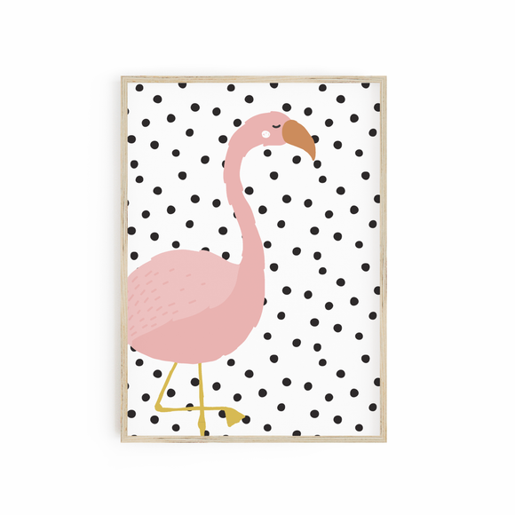 Flamingo on Polka Dot Dalmatian Background