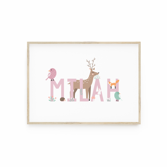 Personalised Woodland animal print