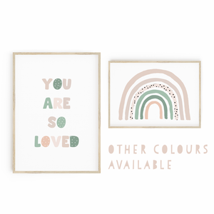 You Are So Loved // Rainbow - Sage & Pink
