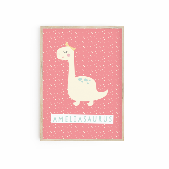 Girly Personalised Dinosaur print