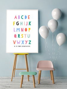 Bright Personalised Alphabet print