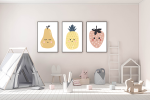 Fruit // Pear, Pineapple and Strawberry prints