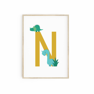 Mustard Monogram with Dinosaurs