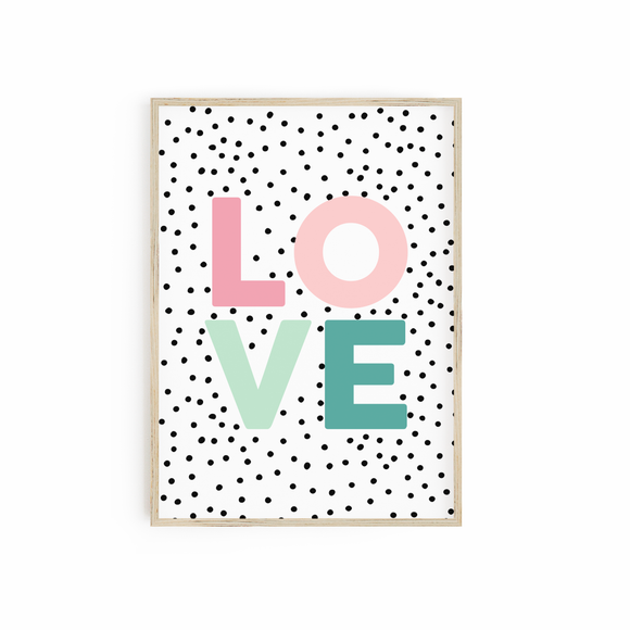 Blush & Emerald LOVE print