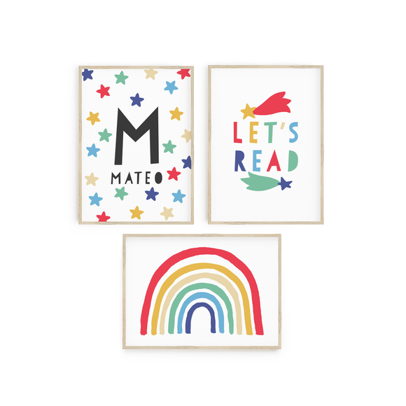 Muted Rainbow - Personalised Stars - Let's Read