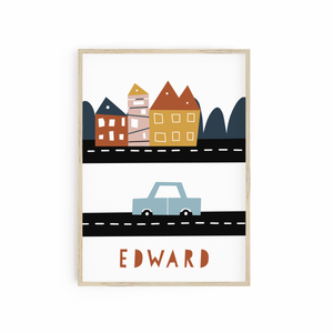 Personalised Neutral Car print