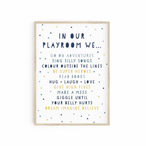 Playroom Rules - Blues & Mustard