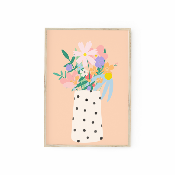 Vase of flowers - peach background