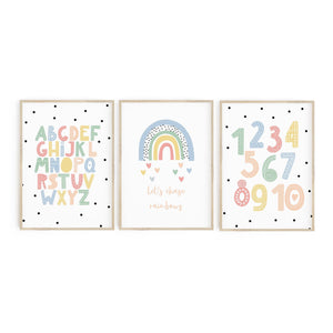 Pastel Lets Chase Rainbows trio - alphabet and numbers