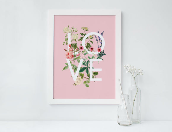 Botanical typography love print