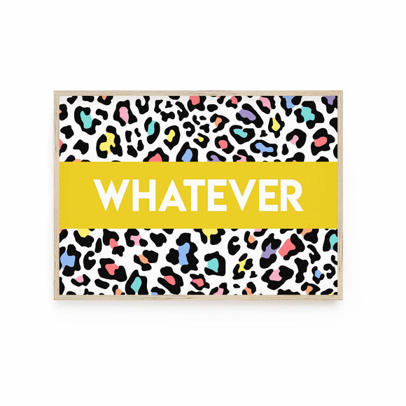 Whatever - Bright Rainbow Leopard print