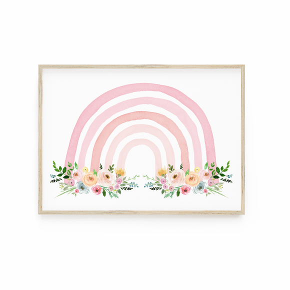 Pink Floral Watercolour Rainbow