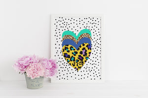 Bright Leopard Print heart